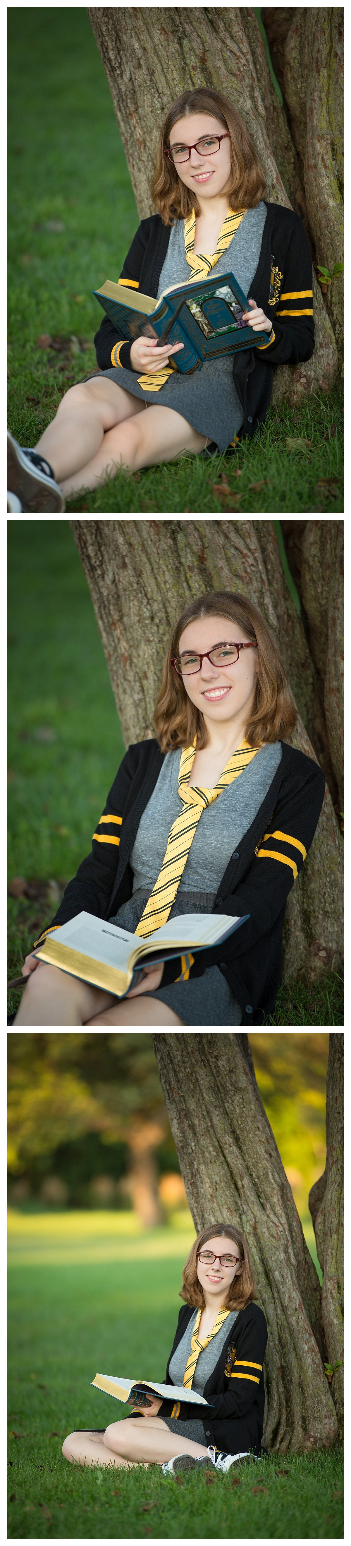Rochester Park Senior Portraits with Harry Potter style book reading