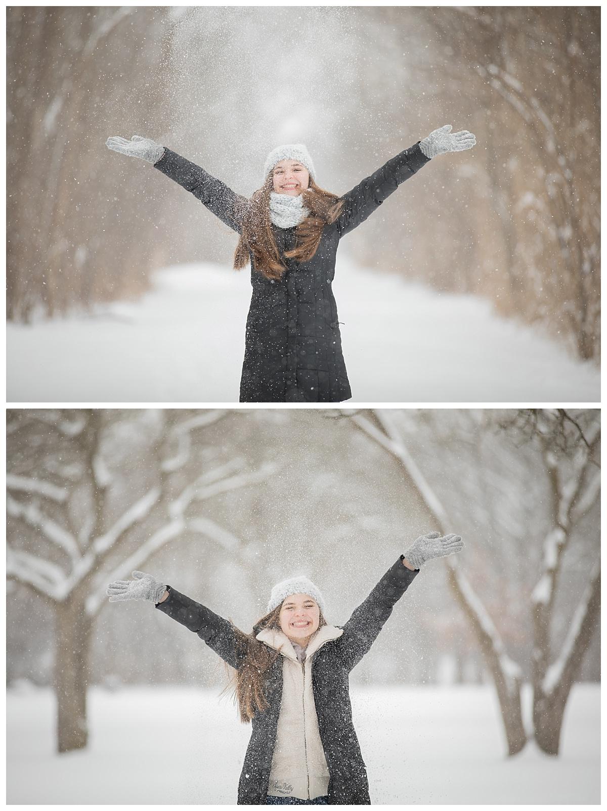 Adams High school fun in the snow at Rochester Park