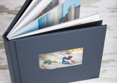 Heirloom leather album with cut-out
