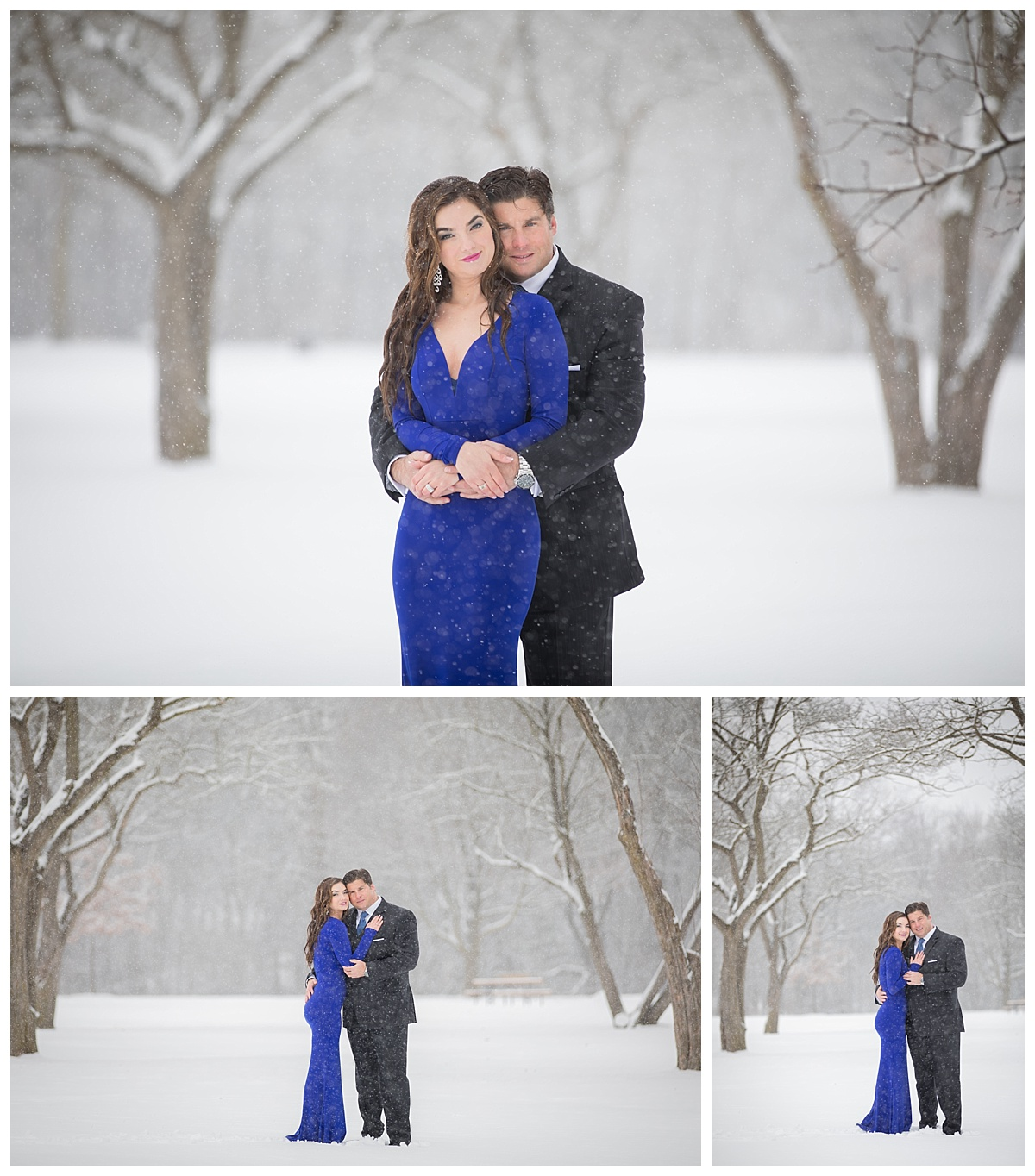 elegant snow engagement session