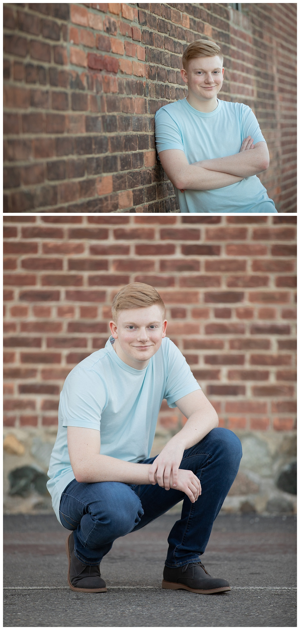 senior guy portraits with brick