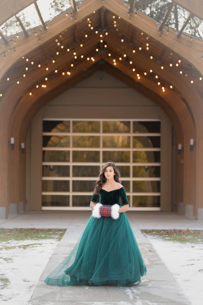 Winter Portraits in gowns Rochester Michigan