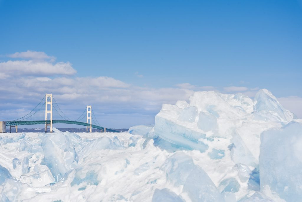 Mackinac Bridge Blue Ice