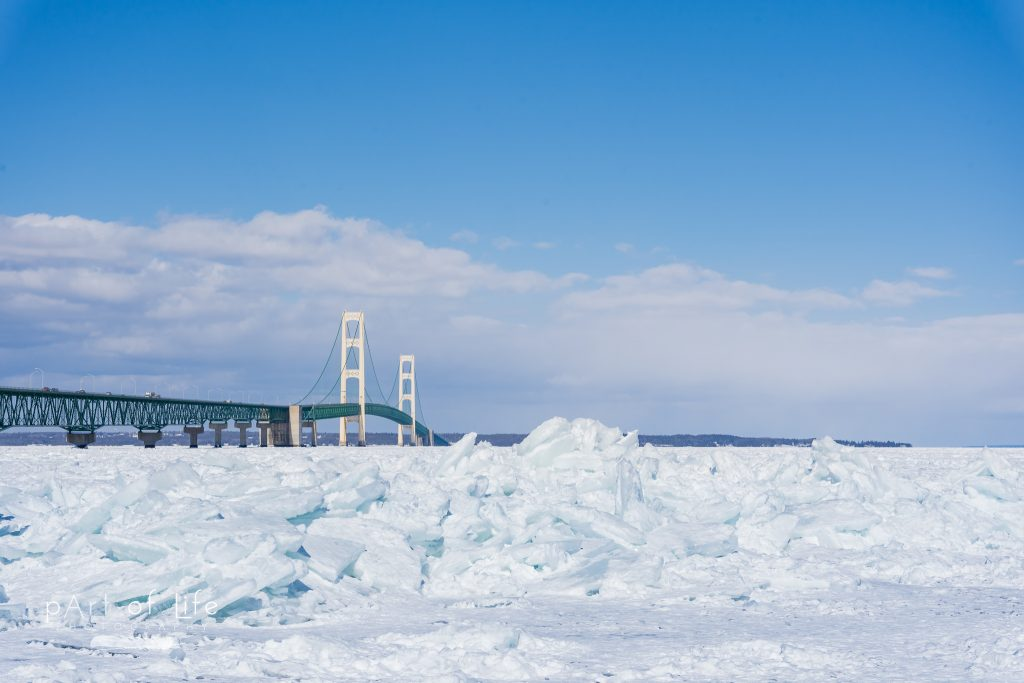 Mackinac Bridge Blue Ice